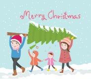 Den gulliga familjen bär jultree'vectorillustrationen Royaltyfri Fotografi