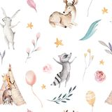 Den gulliga familjen behandla som ett barn raccon, hjortar och kaninen den djura barnkammaregiraffet och björnen isolerade illust Arkivbild