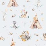 Den gulliga familjen behandla som ett barn raccon, hjortar och kaninen den djura barnkammaregiraffet och björnen isolerade illust Royaltyfri Bild