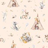 Den gulliga familjen behandla som ett barn raccon, hjortar och kaninen den djura barnkammaregiraffet och björnen isolerade illust Royaltyfria Bilder