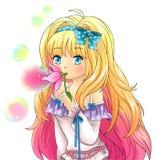 Den gulliga fantasiflickan blåser bubblor från en blomma, design i Ja Arkivbild