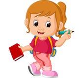 Den gulliga flickan går till skolan royaltyfri illustrationer