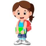 Den gulliga flickan går till skolan stock illustrationer
