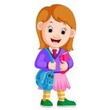 Den gulliga flickan går till skolatecknade filmen royaltyfri illustrationer
