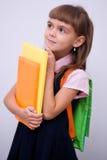 Den gulliga flickan rymmer boken Royaltyfria Foton