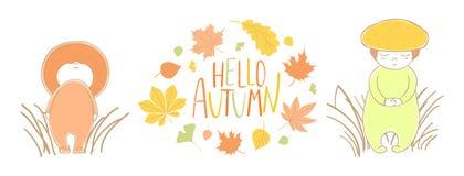 Den gulliga hösten plocka svamp med sidor och citationstecken royaltyfri illustrationer