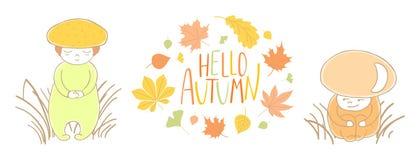 Den gulliga hösten plocka svamp med sidor och citationstecken vektor illustrationer