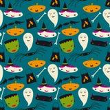 Den gulliga Halloween Seamless vektorn mönstrar Fotografering för Bildbyråer