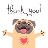 Den gulliga hunden säger tackar dig Mops med hjärta som är full av tacksamhet vektor illustrationer
