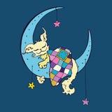 Den gulliga hunden sover på månen Royaltyfri Fotografi
