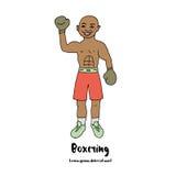 Den gulliga illustrationen av en boxare med hans hand lyftte i boxninghandskar Fotografering för Bildbyråer