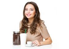 Den gulliga kaffeflickan Fotografering för Bildbyråer
