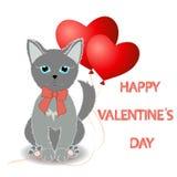 Den gulliga kattungen önskar lycklig dag för valentin` s Röd ballong två i Arkivbild