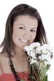 den gulliga klänningkvinnlign blommar red Royaltyfri Bild