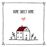 Den gulliga klotterkortdesignen med uttryck om hem- och litet skissar Arkivfoto