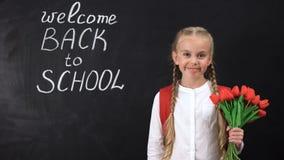 Den gulliga le flickainnehavgruppen av tulpan nära den svart tavlan välkomnar tillbaka till skola arkivfilmer