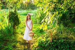 Den gulliga le lilla flickan rymmer korgen med frukt och grönsaker fotografering för bildbyråer