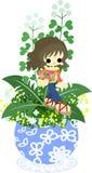 Den gulliga lilla blomkrukan - herdes handväska Royaltyfri Bild