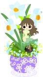 Den gulliga lilla blomkrukan - pingstlilja Royaltyfria Foton