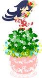 Den gulliga lilla blomkrukan - våtarv Arkivbilder