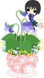 Den gulliga lilla blomkrukan - violet- Arkivbild