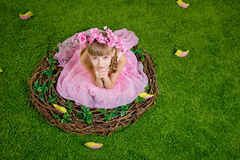 Den gulliga lilla flickan är i ett fågelrede Royaltyfri Fotografi