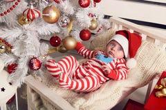 Den gulliga lilla jultomten behandla som ett barn att posera bredvid julgranen på slags tvåsittssoffahemmet med garnering för det Royaltyfria Bilder
