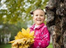 Den gulliga liten flicka leker med leaves i park royaltyfri bild