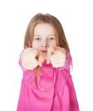 Den gulliga liten flicka som pekar henne, fingrar Fotografering för Bildbyråer