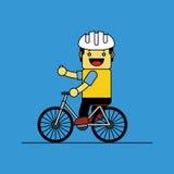 Den gulliga mannen cyklar för gyckel vektor illustrationer