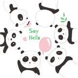 Den gulliga pandan behandla som ett barn tecknade filmen skissar djur stil Royaltyfri Fotografi