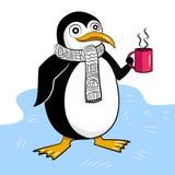 Den gulliga pingvinet dricker en kopp av den varma drycken stock illustrationer