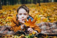 Den gulliga pojken går och poserar i en färgrik höst parkerar arkivbild