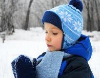 Den gulliga pojken i snö parkerar, övervintrar begrepp Arkivbilder