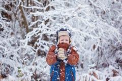 Den gulliga pysen, unge i vinter beklär att gå under snön Royaltyfria Foton