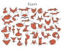 Den gulliga räven skissar, samlingen för din design stock illustrationer
