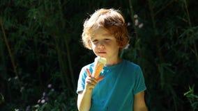 Den gulliga röda hårpojken som äter icecream parkerar in lager videofilmer