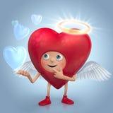 Den gulliga röda hjärtaängeltecknad film med bubblar Arkivbild