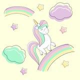 Den gulliga regnbågeenhörningen med en pilbåge är på regnbågen stock illustrationer