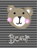 Den gulliga roliga björnframsidalappen, appliquen för garnering lurar kläder vektor illustrationer