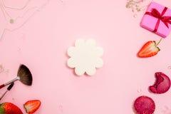 Den gulliga rosa lägenheten lägger, mallen med uppsättningen av svampar för att applicera fundamentet glamor?s stil arkivfoton