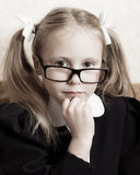 Flicka med exponeringsglas. Royaltyfria Foton
