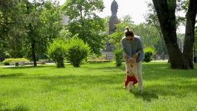 Den gulliga slanka modern hjälper hennes nätta roliga dotter att göra första steg på grönt gräs i bildmässig stad parkera arkivfilmer