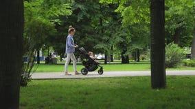 Den gulliga slanka modern med sittvagnen går med hennes begynnande dotter bland gröna träd i bildmässig stad parkerar lager videofilmer