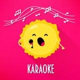 Den gulliga solen med mikrofonen sjunger karaokesånger Plan stil också vektor för coreldrawillustration Arkivfoto