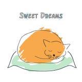 Den gulliga sova kattillustrationen skissar in stil royaltyfri illustrationer