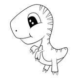 Den gulliga svartvita tecknade filmen av behandla som ett barn den T-Rex dinosaurien Arkivfoto