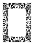 Den gulliga Swirly ramen av svart färgpulver virvlar runt på vit Arkivbilder