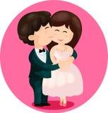 Den gulliga tecknad film kopplar ihop att kyssa Royaltyfri Bild