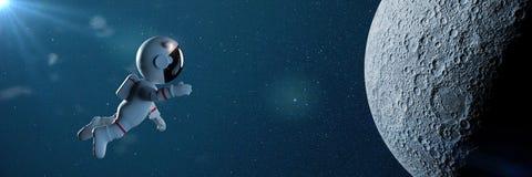 Den gulliga tecknad filmastronautet i den vita utrymmedräkten flyger till illustrationbanret för månen 3d Arkivbild